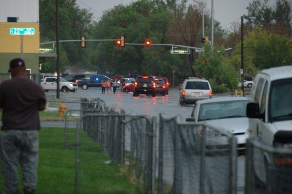 Flooded street in northwest Aurora, CO.